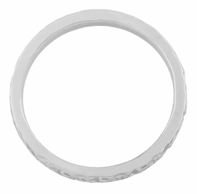 Love Anchor and Cross Engraved Vintage Pattern Wedding Band for a Man | Size 10 | 3mm Wide | 14K White Gold - Item R667W - Image 1