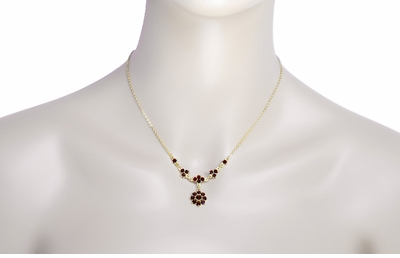 Lovely Victorian Bohemian Garnet Floral Drop Necklace in Sterling Silver and Yellow Gold Vermeil - Item N112 - Image 2