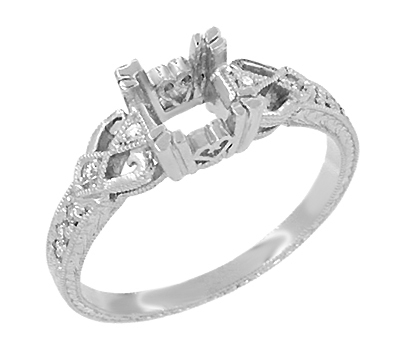 Loving Hearts 1/2 Carat Diamond Engraved Antique Style Engagement Ring Setting in 18K White Gold | 4.5mm Princess | 5mm Round