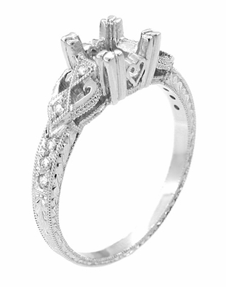 Loving Hearts 1/2 Carat Princess Cut Diamond Engraved Antique Style Platinum Engagement Ring Setting - Item R459P50 - Image 2