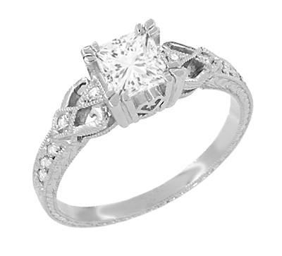 Art Deco Loving Hearts 1 Carat Princess Cut Diamond Antique Style Engagement Ring in 18K White Gold | Heirloom Engraved