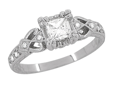 Loving Hearts 3/4 Carat Princess Cut Diamond Antique Style Engraved Platinum Engagement Ring