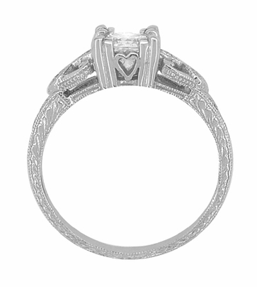 Loving Hearts 3/4 Carat Princess Cut Diamond Antique Style Engraved Platinum Engagement Ring - Item R459PD - Image 3