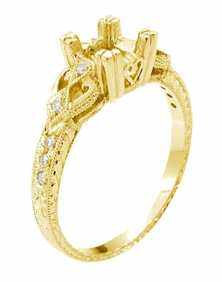 Loving Hearts  3/4 Carat Princess Cut Diamond Engraved Antique Style Engagement Ring Setting in 18 Karat Yellow Gold - Item R459Y - Image 1