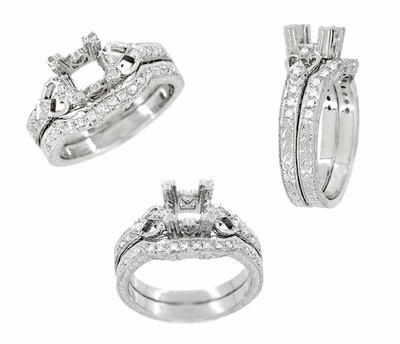Loving Hearts 3/4 Carat Princess Cut Diamond Engraved Antique Style Platinum Art Deco Engagement Ring Setting - Item R459P - Image 3