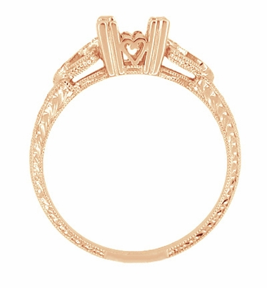 Loving Hearts Art Deco Antique Style Engagement Ring Setting for a 1 Carat Round or Princess Cut Diamond in 14 Karat Rose ( Pink ) Gold - Item R459R1 - Image 2