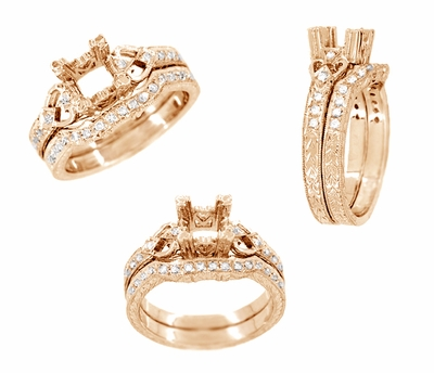 Loving Hearts Art Deco Antique Style Engagement Ring Setting for a 1 Carat Round or Princess Cut Diamond in 14 Karat Rose ( Pink ) Gold - Item R459R1 - Image 3