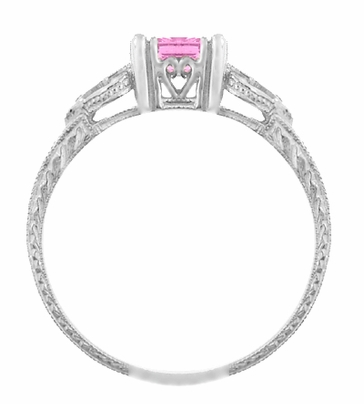 Loving Hearts Art Deco Antique Style Engraved Princess Cut Pink Sapphire Engagement Ring in 18 Karat White Gold - Item R459WPS - Image 1