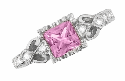 Loving Hearts Art Deco Antique Style Engraved Princess Cut Pink Sapphire Engagement Ring in 18 Karat White Gold - Item R459WPS - Image 3