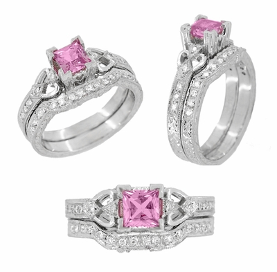 Loving Hearts Art Deco Antique Style Engraved Princess Cut Pink Sapphire Engagement Ring in 18 Karat White Gold - Item R459WPS - Image 4