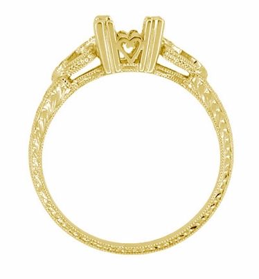 Loving Hearts Art Deco Engraved Antique Style Engagement Ring Setting for a 1 Carat Princess Cut or Round Diamond in 18 Karat Yellow Gold - Item R459Y1 - Image 2