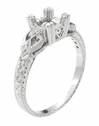 Loving Hearts Art Deco Engraved Vintage Style Engagement Ring Setting in 18 Karat White Gold for a 3/4 Carat Princess or Round Diamond - Item R459 - Image 2