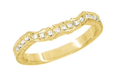 Antique Style Loving Hearts Contoured Art Deco Engraved Wheat Diamond Wedding Ring in 18 Karat Yellow Gold