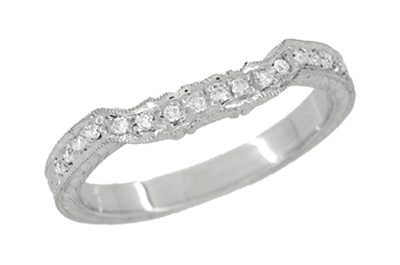 Art Deco Loving Hearts Contoured Vintage Engraved Wheat Diamond Wedding Ring in Platinum