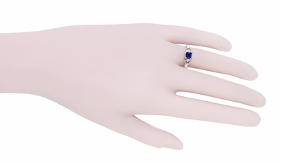 Loving Hearts Princess Cut Blue Sapphire Vintage Style Engraved Art Deco Engagement Ring in 18 Karat White Gold - Item R459WS - Image 6