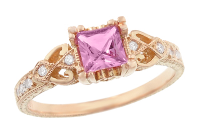 Loving Hearts Princess Cut Pink Sapphire Antique Style Engraved Engagement Ring in 14 Karat Rose ( Pink ) Gold