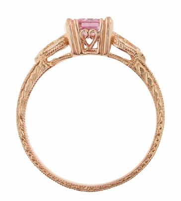 Loving Hearts Princess Cut Pink Sapphire Antique Style Engraved Engagement Ring in 14 Karat Rose ( Pink ) Gold - Item R459RPS - Image 3