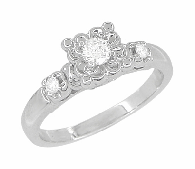 Lucky Clover Retro Moderne White Sapphire Engagement Ring in 14 Karat White Gold - Item R674WS - Image 1