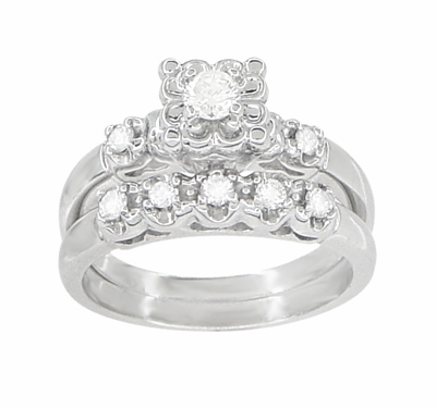 Lucky Clover Retro Moderne White Sapphires Wedding Set in 14K White Gold - Item R674SWS - Image 1