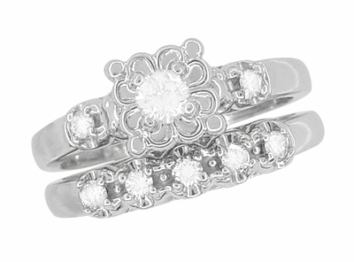 Lucky Clover Retro Moderne White Sapphires Wedding Set in 14K White Gold - Item R674SWS - Image 2