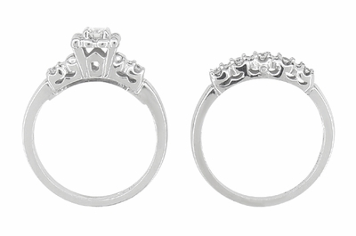 Lucky Clover Retro Moderne White Sapphires Wedding Set in 14K White Gold - Item R674SWS - Image 3