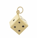 Vintage 6 Sided Dice Charm in 9K Gold | Gambler Jewelry Gift