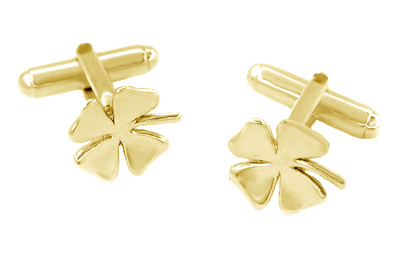 Lucky Four Leaf Clover Cufflinks in 14 Karat Yellow Gold