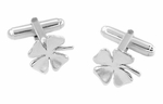 Lucky Four Leaf Clover Shamrock Cufflinks in Sterling Silver