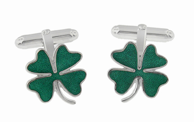 Lucky Four Leaf Clover Shamrock Enameled Cufflinks in Sterling Silver