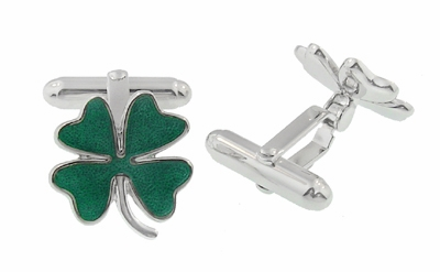 Lucky Four Leaf Clover Shamrock Enameled Cufflinks in Sterling Silver - Item SCL120E - Image 1