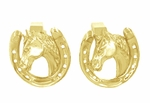 Lucky Horse and Horseshoe Cufflinks in 14 Karat Yellow Gold