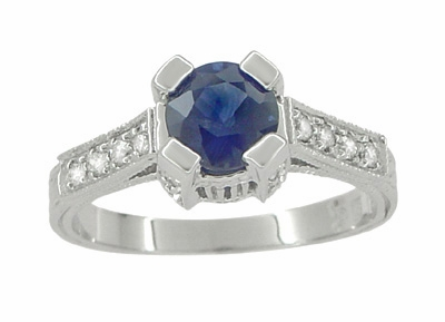 Luxe Castle Blue Sapphire Engagement Ring in 18 Karat White Gold - Item R663S - Image 1