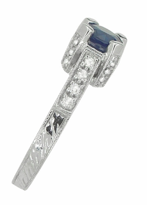 Luxe Castle Blue Sapphire Engagement Ring in 18 Karat White Gold - Item R663S - Image 3