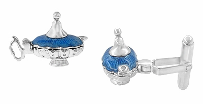 Magic Genie Lamp Movable Cufflinks in Sterling Silver with Blue Enamel - Item SCL146E - Image 1