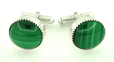 Malachite Cufflinks in Sterling Silver