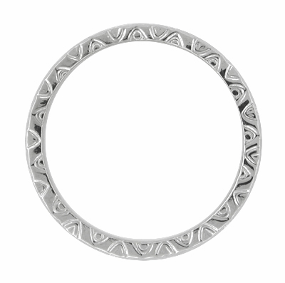 Mardi Gras Retro Carved Wedding Band in 14 Karat White Gold - 3mm - Item R624 - Image 1