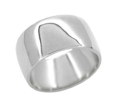 Men's 10 mm Wedding Band Ring in 14 Karat White Gold