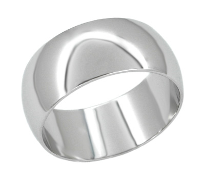 Men's 10 mm Wide Platinum Wedding Band Ring - ALL SIZES