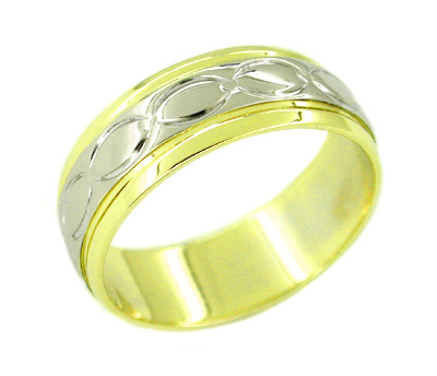 Mens Antique Eternity Ovals Wedding Band Ring In 14 Karat Yellow And White Gold