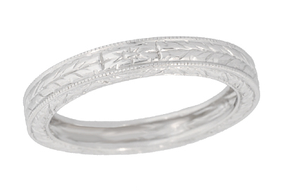 Men's Art Deco 3.75 mm Wide Engraved Wheat Wedding Band Ring in 18 Karat White Gold