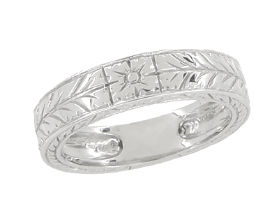 Men's Art Deco 5mm Wide Engraved Wheat Wedding Band Ring in 18 Karat White Gold
