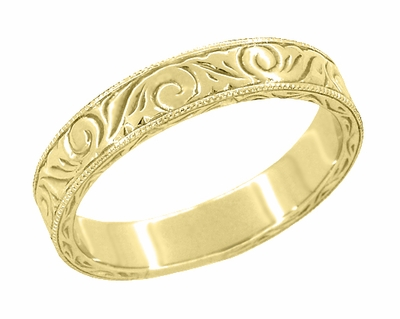 Men's Art Deco Antique Scrolls Engraved Wedding Band in 18 Karat Yellow Gold - Item WR199MY - Image 1