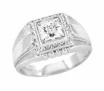 Men's Art Deco Diamond Set Ring in 14 Karat White Gold