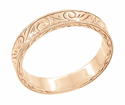 Men's Art Deco Scrolls Engraved Wedding Band in 14 Karat Rose Gold - Item WR199MR - Image 2