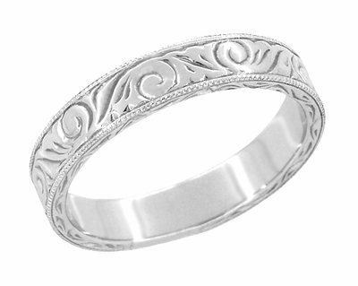Men's Art Deco Scrolls Vintage Engraved Wedding Band in 18 Karat White Gold - Item WR199MW - Image 1