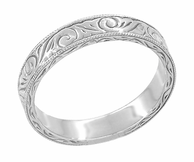 Men's Art Deco Scrolls Vintage Engraved Wedding Band in 18 Karat White Gold - Item WR199MW - Image 2
