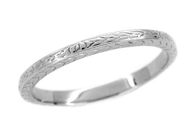 Men's Art Deco Wheat Engraved Wedding Ring Band in Platinum