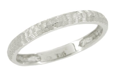 Men's Bark Finish Wedding Ring in 19 Karat White Gold