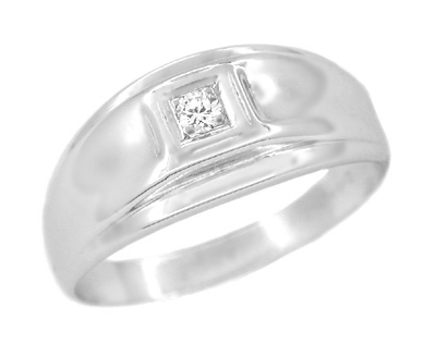 Men's Diamond Retro Moderne Ring in 14 Karat White Gold