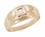 Men's Diamond Set Retro Moderne Ring in 14 Karat Rose ( Pink ) Gold